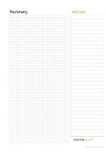 mathemio Rechenblatt mit breitem Rand für Notizen
